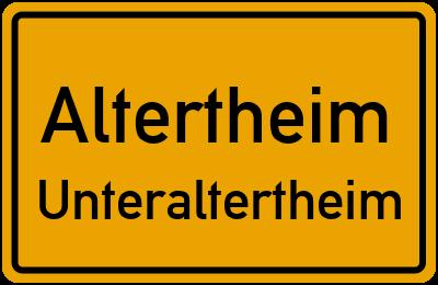 Ortsschild Altertheim Unteraltertheim