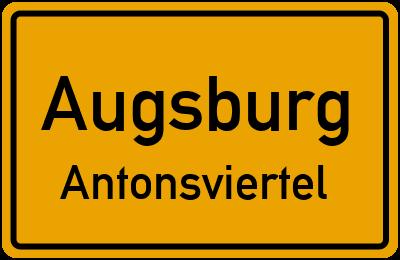 Ortsschild Augsburg Antonsviertel