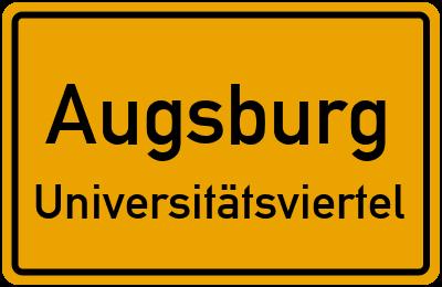 Ortsschild Augsburg Universitätsviertel