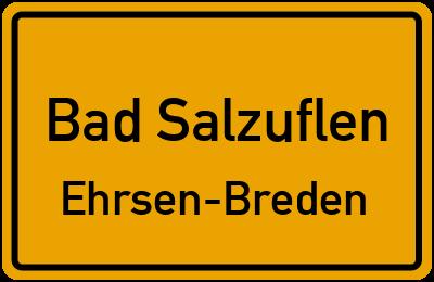 Ortsschild Bad Salzuflen Ehrsen-Breden