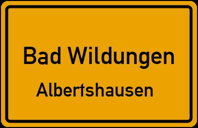 Ortsschild Bad Wildungen Albertshausen