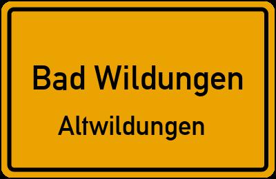 Ortsschild Bad Wildungen Altwildungen