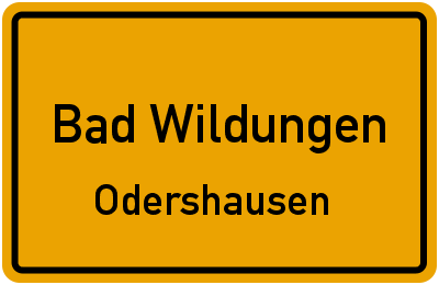 Ortsschild Bad Wildungen Odershausen