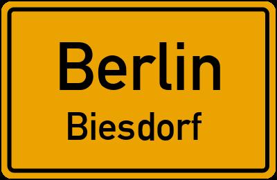 Ortsschild Berlin Biesdorf