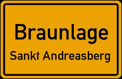 Ortsschild Braunlage Sankt Andreasberg