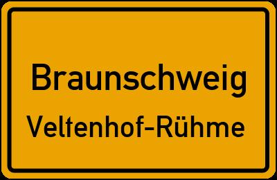 Ortsschild Braunschweig Veltenhof-Rühme