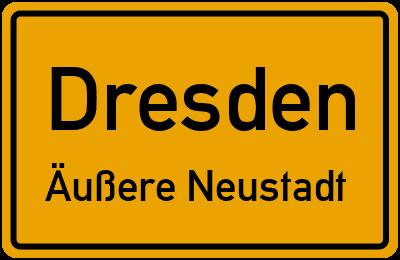 Ortsschild Dresden Äußere Neustadt