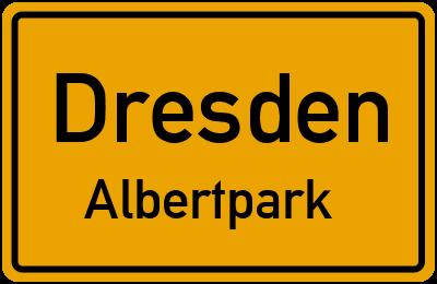 Ortsschild Dresden Albertpark