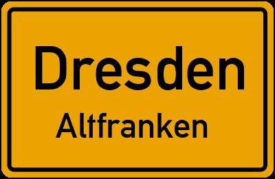 Ortsschild Dresden Altfranken