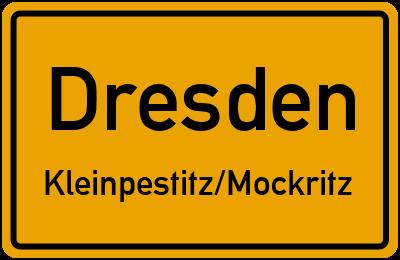 Ortsschild Dresden Kleinpestitz/Mockritz