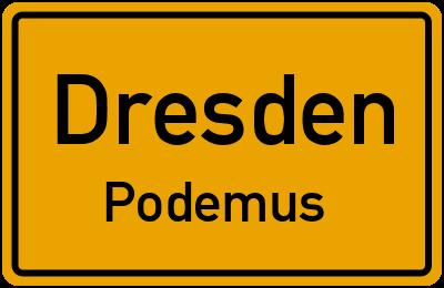 Ortsschild Dresden Podemus