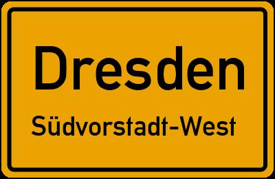 Ortsschild Dresden Südvorstadt-West