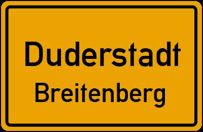Ortsschild Duderstadt Breitenberg