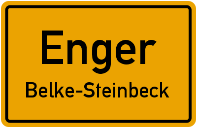 Ortsschild Enger Belke-Steinbeck