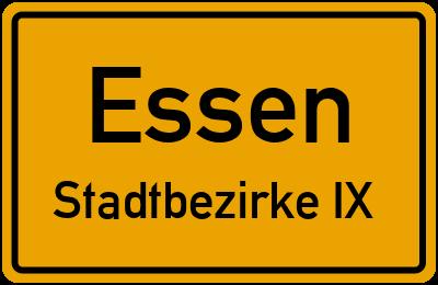 Straßenverzeichnis Essen Stadtbezirke IX