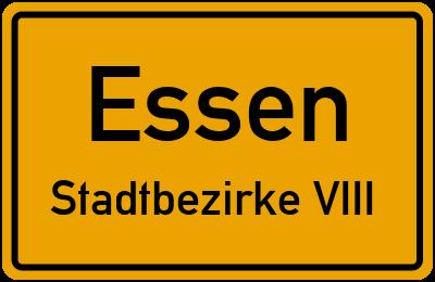 Straßenverzeichnis Essen Stadtbezirke VIII