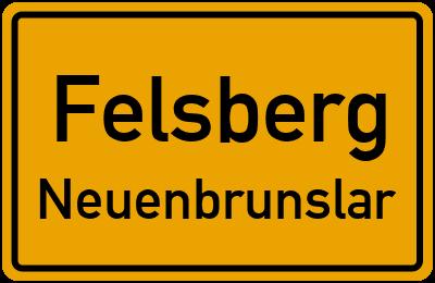 Ortsschild Felsberg Neuenbrunslar