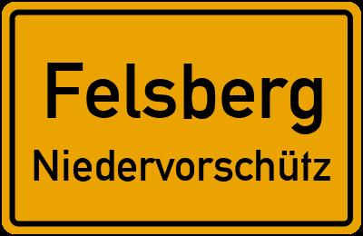 Ortsschild Felsberg Niedervorschütz