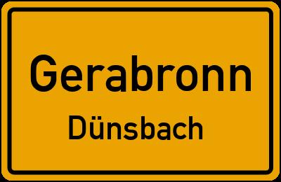Ortsschild Gerabronn Dünsbach