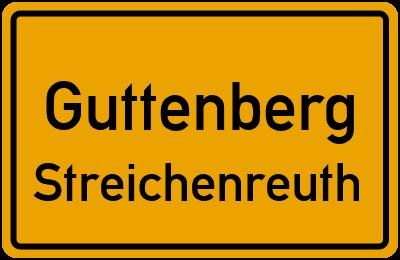 Ortsschild Guttenberg Streichenreuth