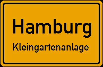 Ortsschild Hamburg Kleingartenanlage