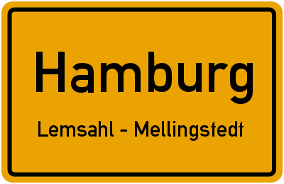 Ortsschild Hamburg Lemsahl - Mellingstedt