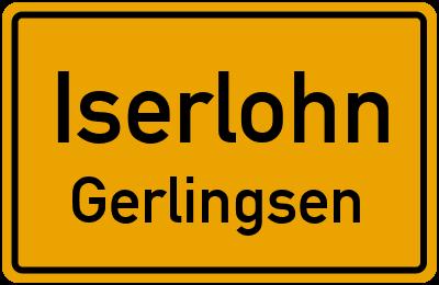 Ortsschild Iserlohn Gerlingsen