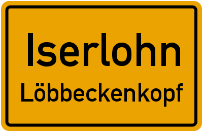 Ortsschild Iserlohn Löbbeckenkopf