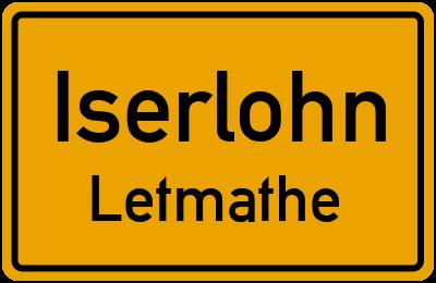 Ortsschild Iserlohn Letmathe