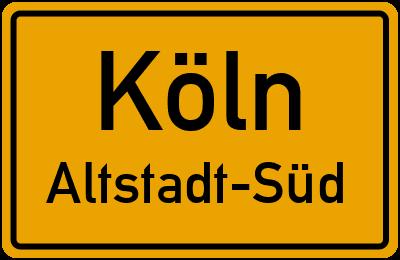 Straßenverzeichnis Köln Altstadt-Süd