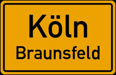 Straßenverzeichnis Köln Braunsfeld