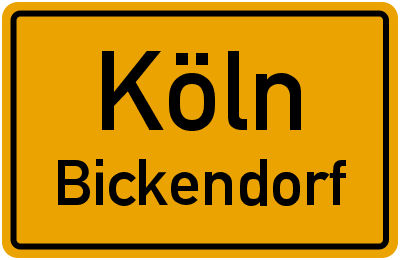 Straßenverzeichnis Köln Bickendorf