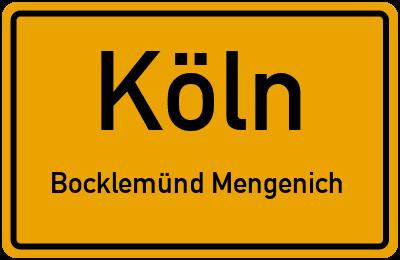 Ortsschild Köln Bocklemünd Mengenich
