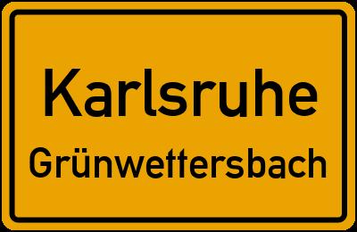 Ortsschild Karlsruhe Grünwettersbach