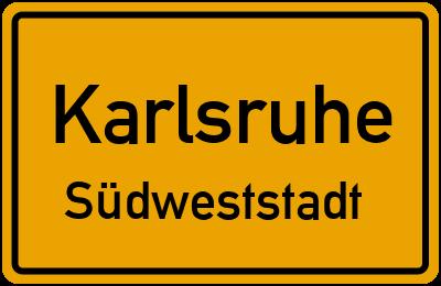 Ortsschild Karlsruhe Südweststadt