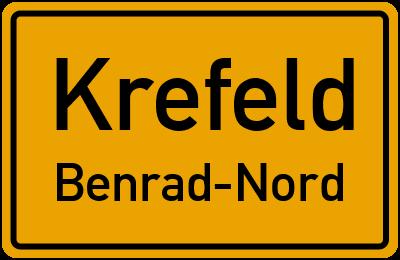 Ortsschild Krefeld Benrad-Nord