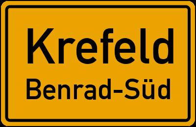 Ortsschild Krefeld Benrad-Süd