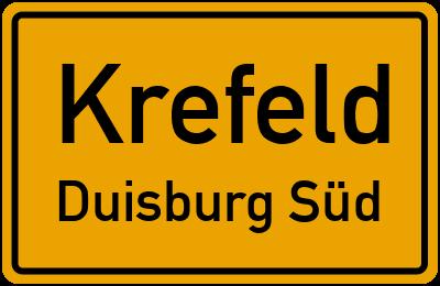 Ortsschild Krefeld Duisburg Süd