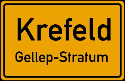 Ortsschild Krefeld Gellep-Stratum