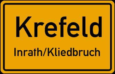 Ortsschild Krefeld Inrath/Kliedbruch