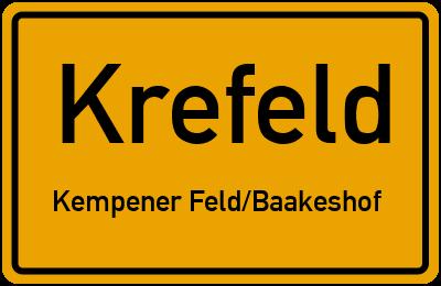 Ortsschild Krefeld Kempener Feld/Baakeshof