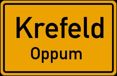 Ortsschild Krefeld Oppum