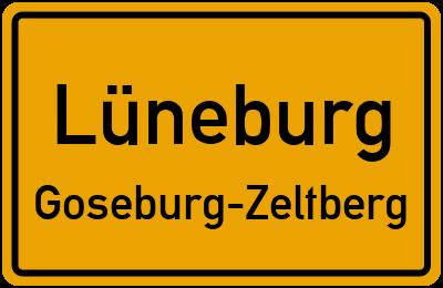Ortsschild Lüneburg Goseburg-Zeltberg