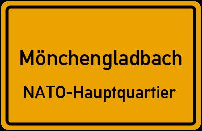 Ortsschild Mönchengladbach NATO-Hauptquartier