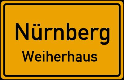 Ortsschild Nürnberg Weiherhaus