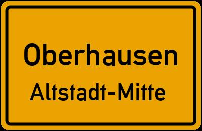 Ortsschild Oberhausen Altstadt-Mitte