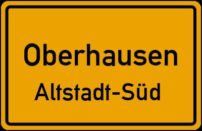 Ortsschild Oberhausen Altstadt-Süd