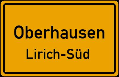 Ortsschild Oberhausen Lirich-Süd