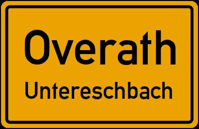 Ortsschild Overath Untereschbach