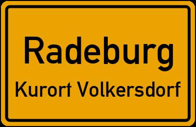 Ortsschild Radeburg Kurort Volkersdorf
